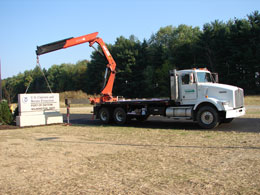 Installation of a precast concrete commercial sign